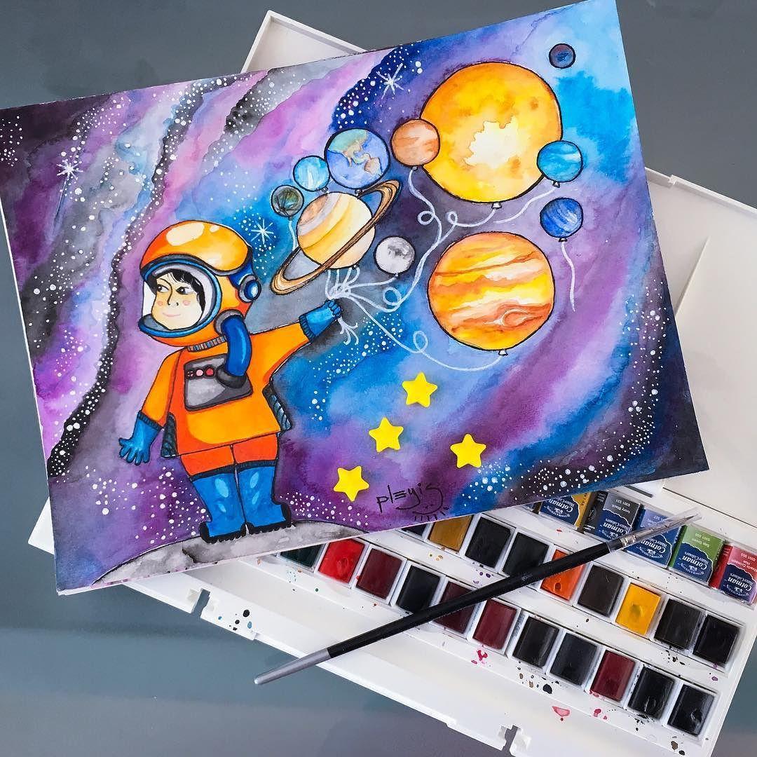 provocative-planet-pics-please.tumblr.com Al fin lo he terminado!  #watercolor #illustration #acuarela #ilustracion #sketch #space #espacio #universe #universo #planets #planetas #solarsystem #sistemasolar #balloons #globos by pleyis https://www.instagram.com/p/_UvXa7ramK/