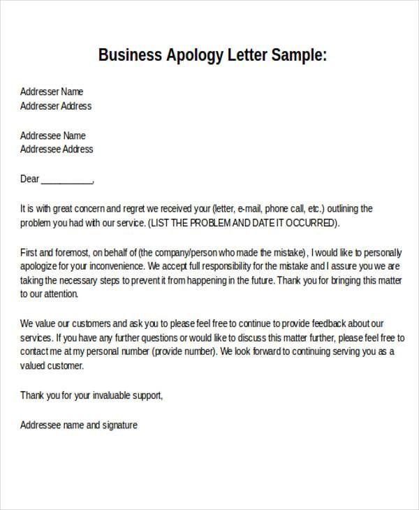 sample formal letter format examples pdf word business apology - sample business apology letter