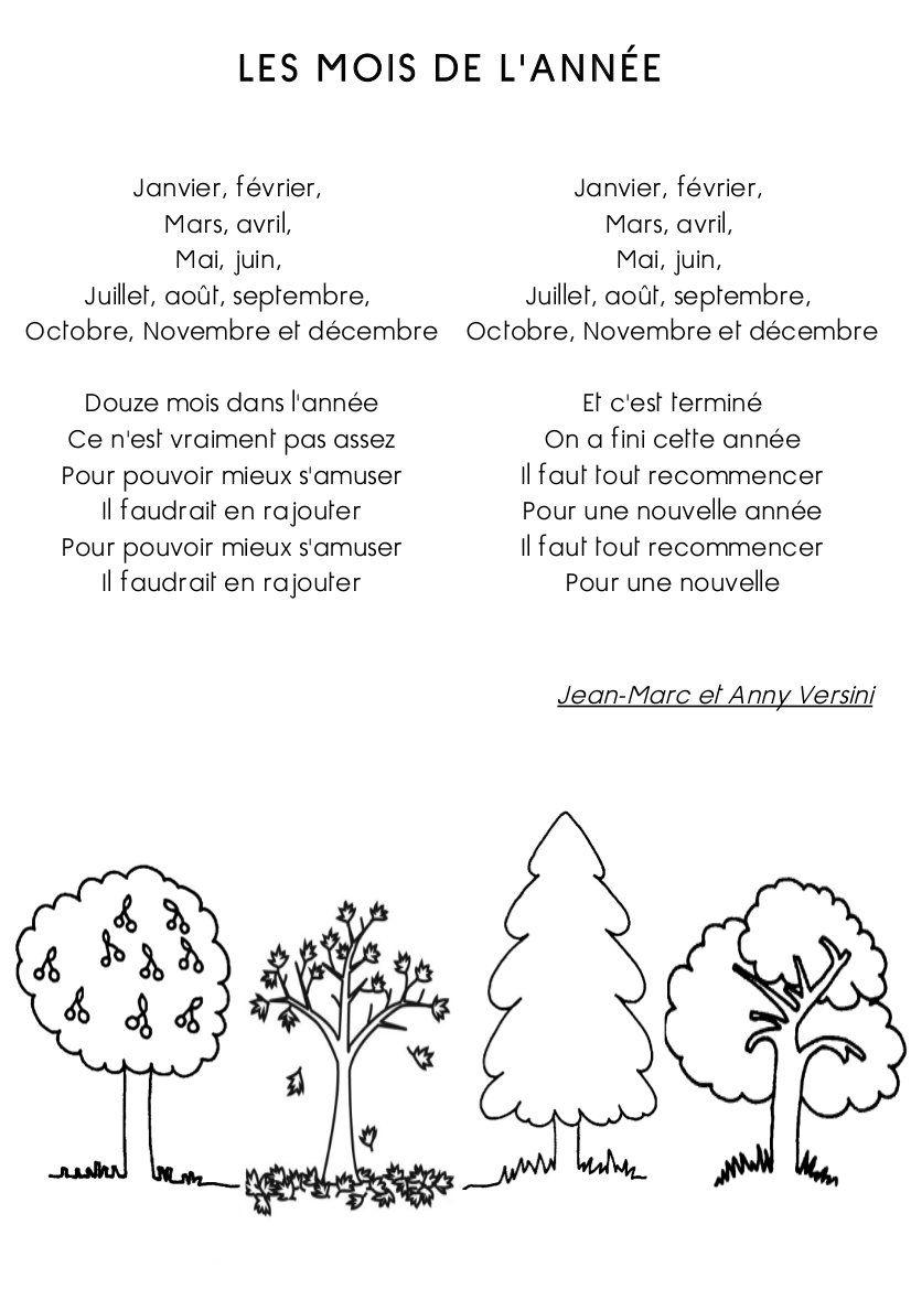 Poésie La Ronde Des Mois : poésie, ronde, Idées, L'année, L'année,, Annee,, Comptine