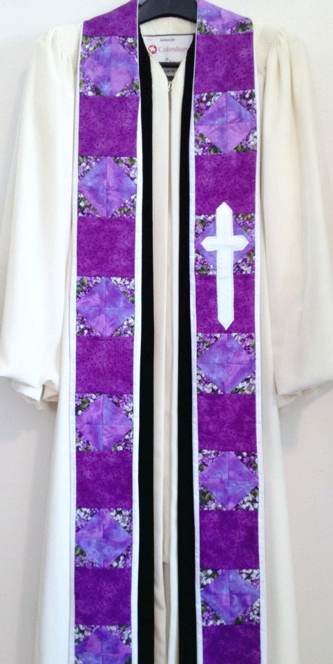 Clergy Stole  Purple Quilted Stole w/ Cross for by PulpitStoles