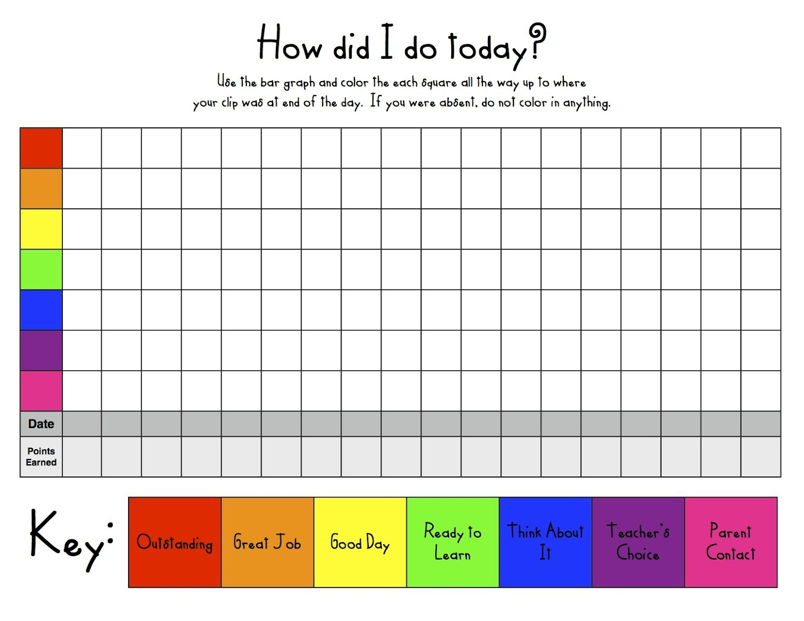 General Clip Chart Student Bar Graph Free  Classroom Ideas