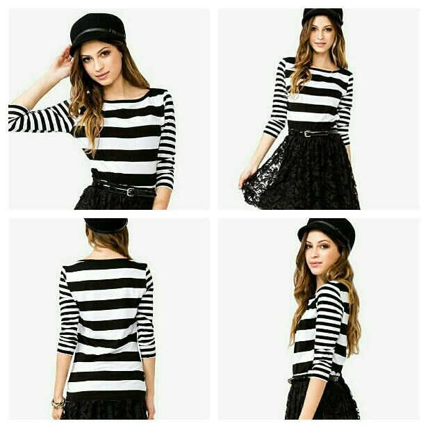 Forever 21 striped top  This is so cute and i'm starting love this top because of its unique striped design ever!!!