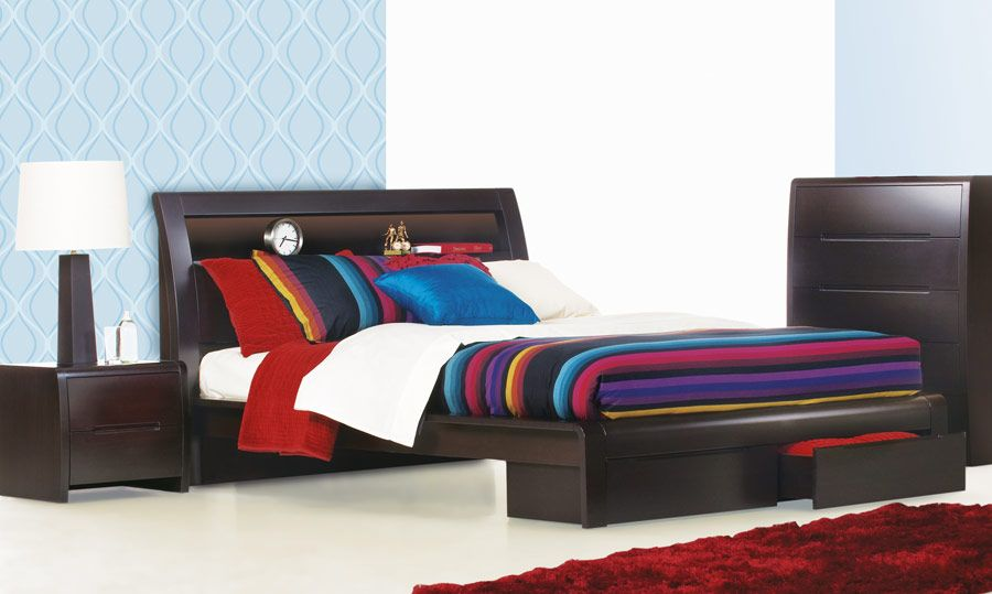 Benton Chocolate   Timber Queen Size Bed   Bedshed   Design Ideas