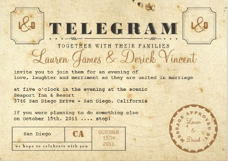 Vintage Telegram Style Wedding Invitation Ticket