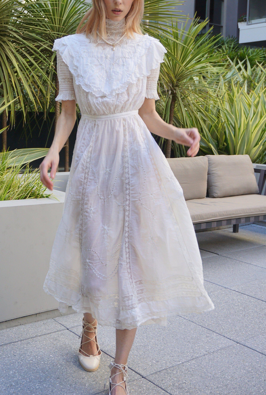 Antique Vintage Cotton White Dress Xxs 0057 Etsy White Victorian Dress White Cotton Dress White Dress [ 3000 x 2017 Pixel ]