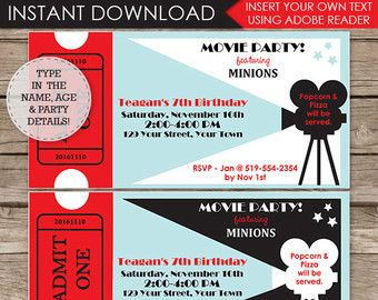 Movie Party Invitations Themes