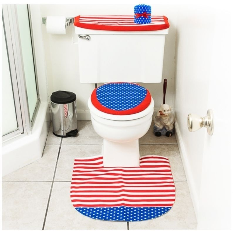 Bathroom Accessories Set Patriotic Red White Blue Bath Rug Cover 4