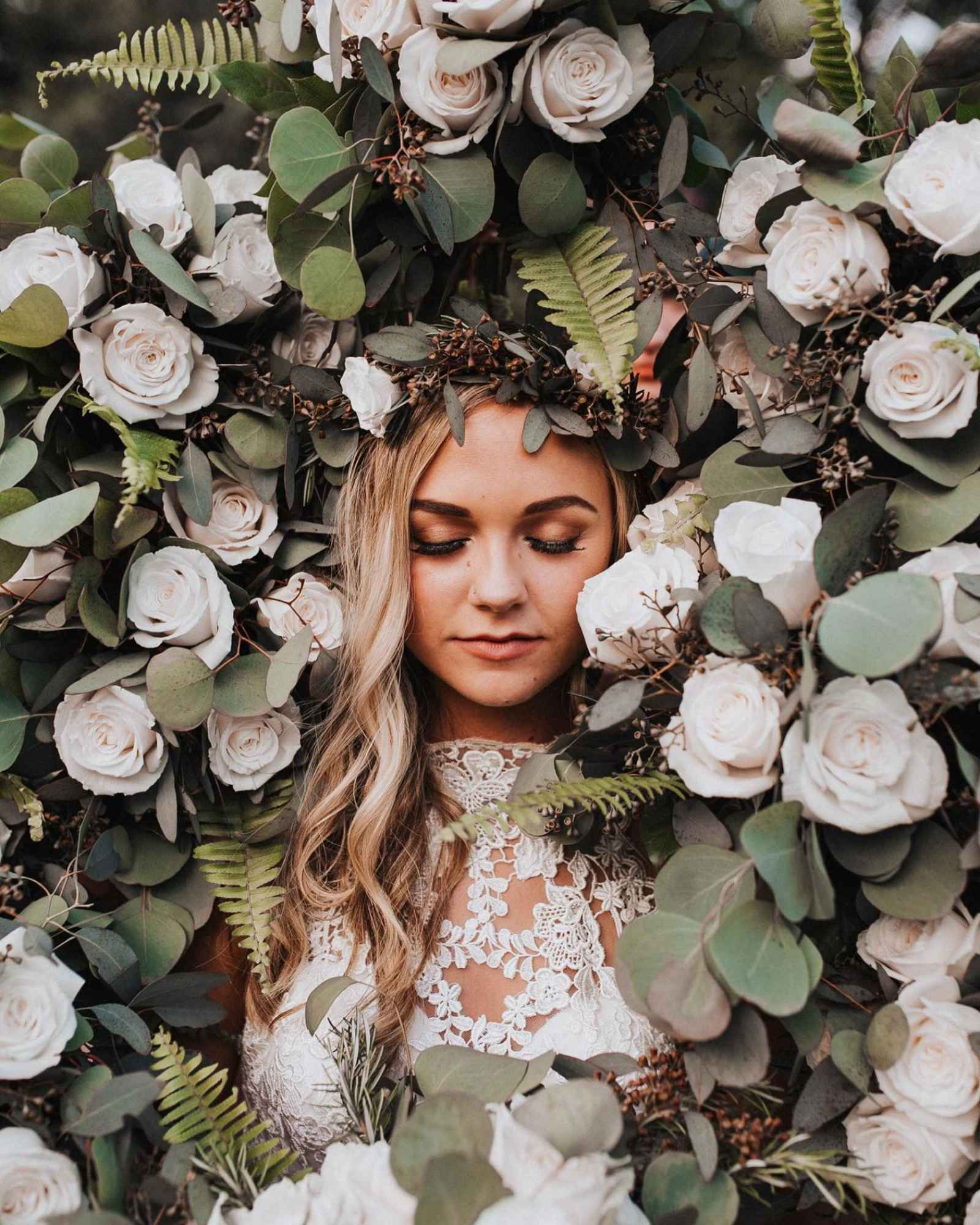 Bride Surrounded By Florals For Incredible Wedding Photography Our