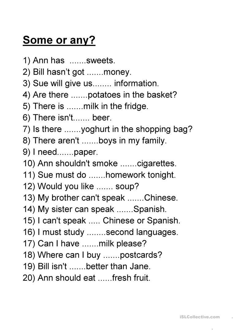 Some Or Any Com Imagens Atividades De Ingles Aulas De Ingles
