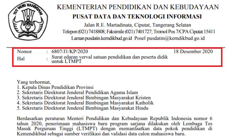 Surat Edaran Verval Sp Dan Pd Untuk Ltmpt Tahun 2021 Surat Guru Pendidikan