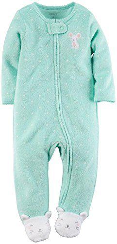 ec8fd9756 Carters Baby Girls Dot Terry Footie Baby Mint Newborn -- Want to ...