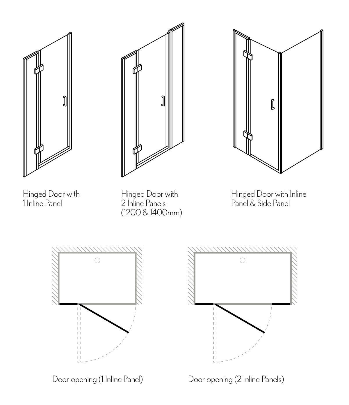 Ten Hinged Shower Door With Inline Panel Shower Doors Shower Enclosure Shower