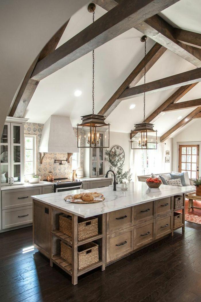 1001 ideas de cocinas rusticas c lidas y con encanto - Lamparas de techo rusticas ...