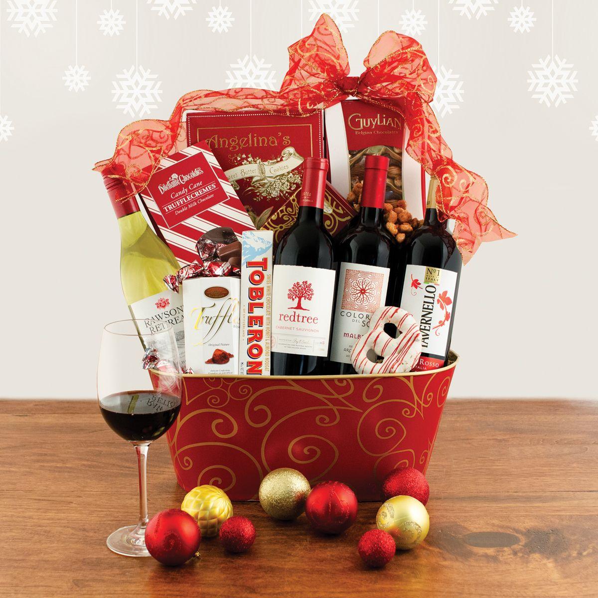 Christmas Wonder Wine Quartet Gift Basket Fruit Basket Gift Christmas Gift Baskets Christmas Gift Basket