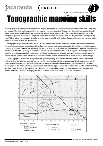 Topographic Mapping Skills Worksheet | Lesson Planet | Earth ...