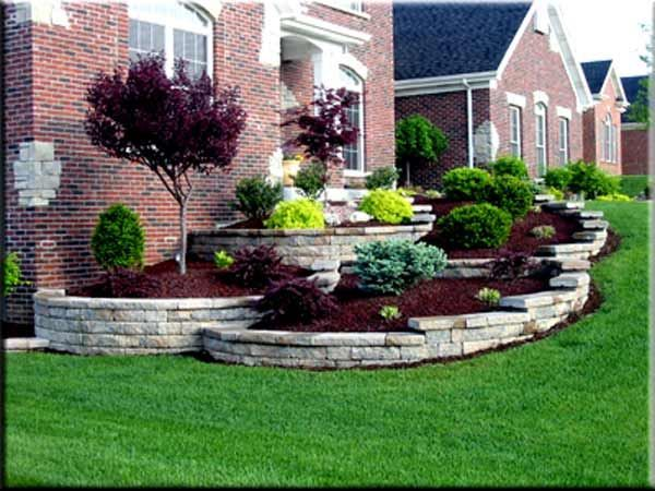 landscape design landscaping simple front yard ideas like the terracing note the man made stone juxtaposed to the red brick