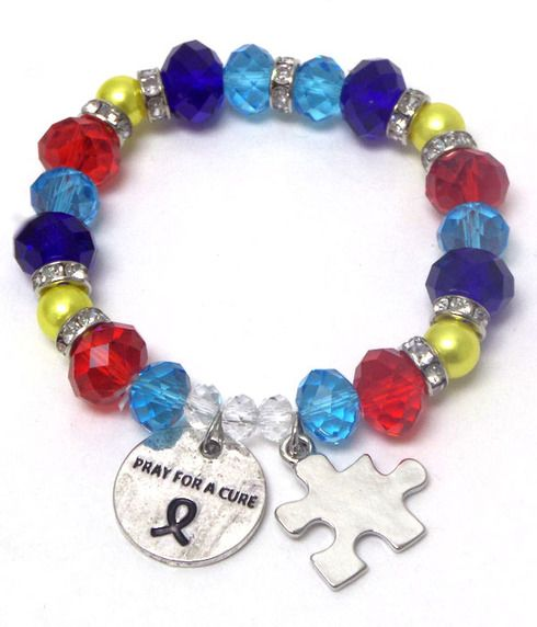 Autism bracelet pray for a cure. Autism awareness. $10. $2 of every sale goes to charity