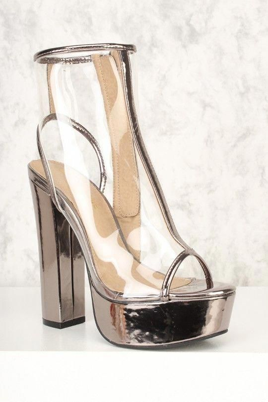 1fa01ba15e3 Sexy Pewter Clear Peep Toe Platform Pump Chunky Heel Booties Faux Leather   Platformpumps