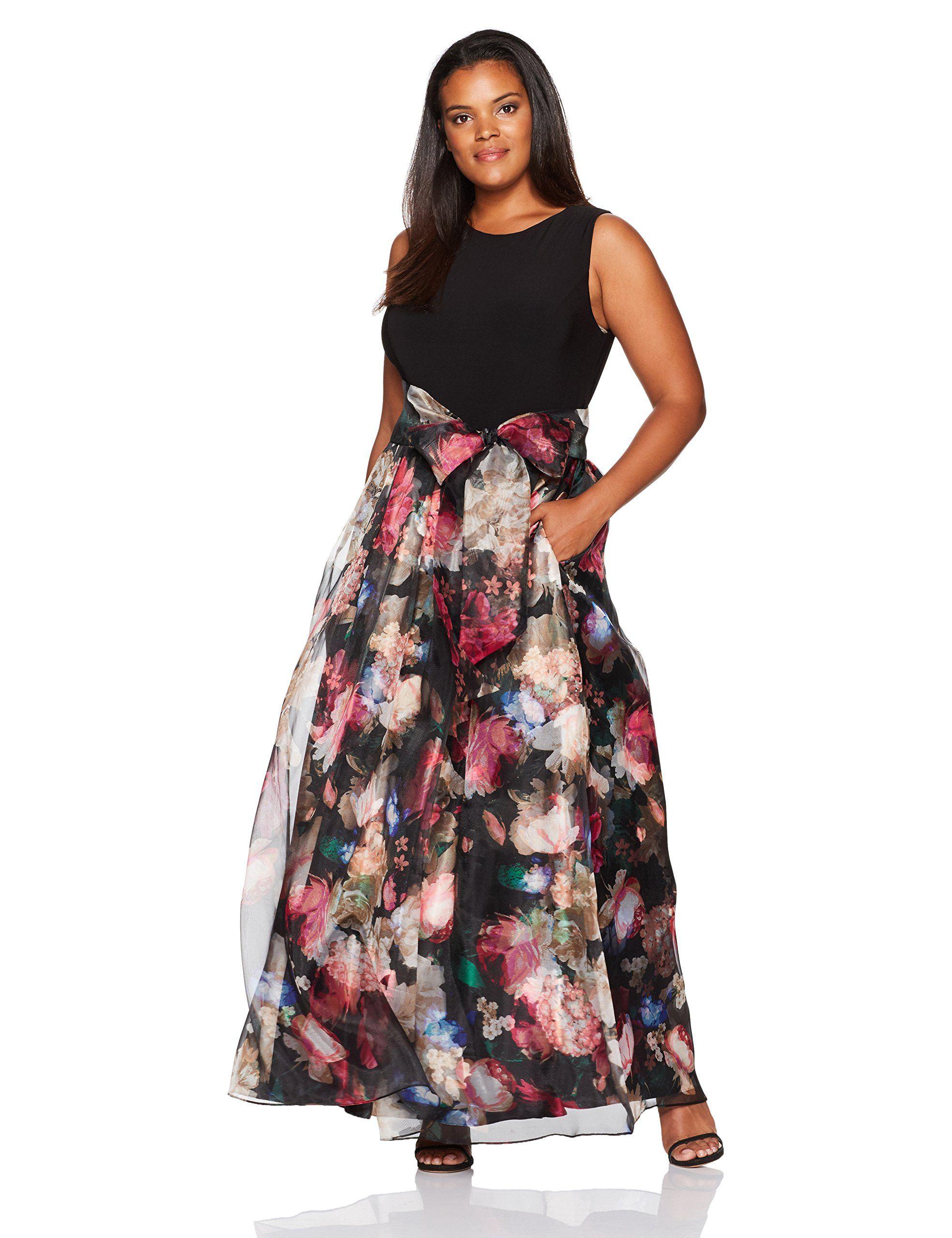 Eliza J Womens Plus Size Floral Printed Ballgown Black Multi 18W ...