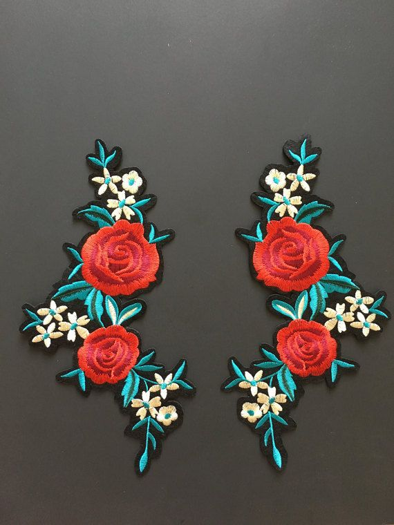 Women Sew//Iron on Rose Flower Embroidered Applique Patch Clothing Accessories