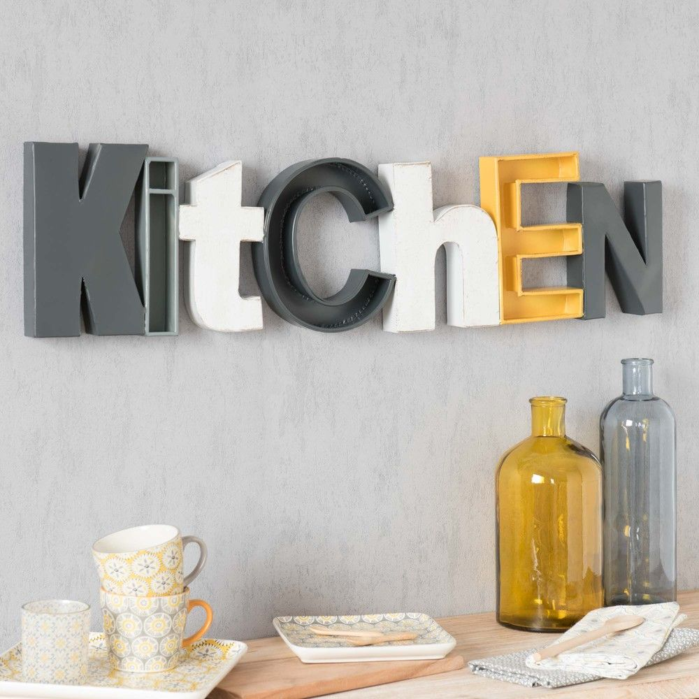 D co murale en m tal 22 x 85 cm kitchen maisons du monde for Decoration murale maison du monde