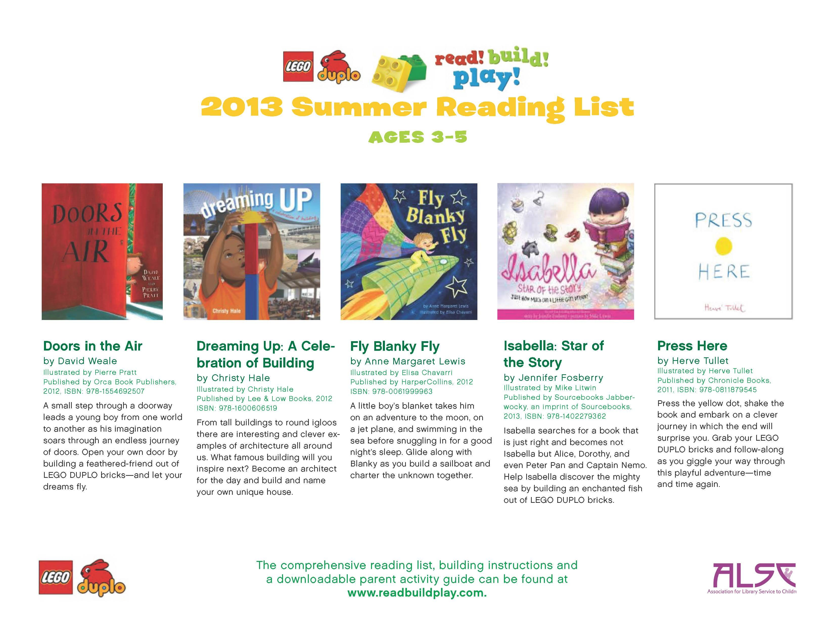 A summer reading list built for little ones. The LEGO® DUPLO® Read!