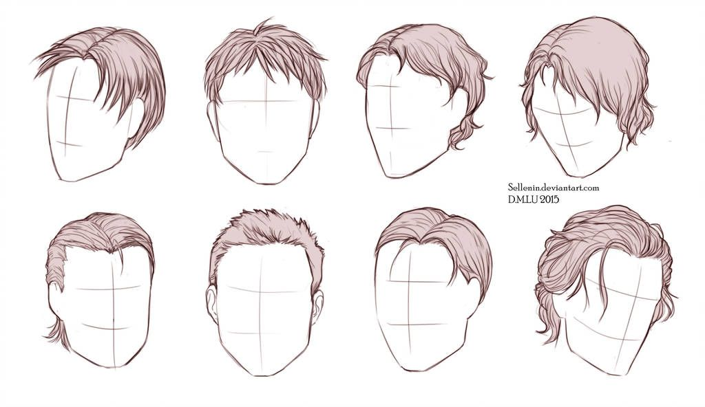 Male Hairstyles By Sellenin Drawing Male Hair How To Draw Hair Hair Sketch
