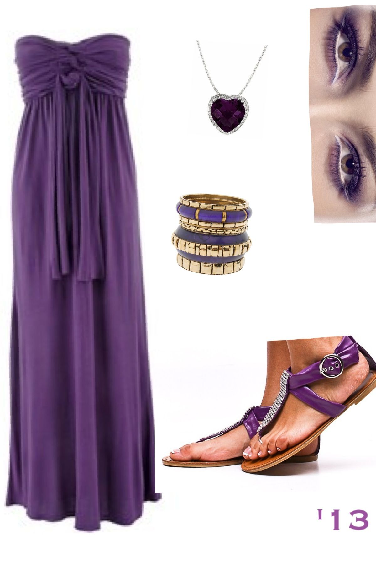 Purple love maxi dress with matching jewelry bangles and for How to match jewelry with prom dress