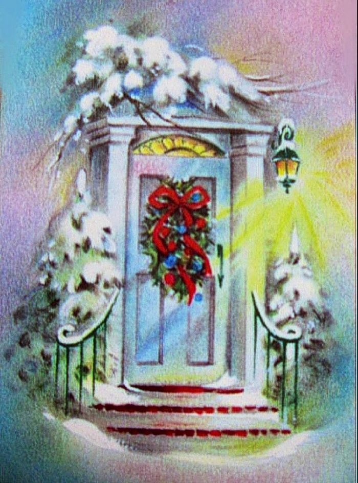 Christmas Front Door Clipart vintage christmas cards front doors | vc-397 vintage christmas