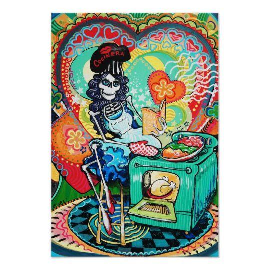 Rockabilly Kitchen Decor: Day Of The Dead Art Kitchen Catrina Poster Decor
