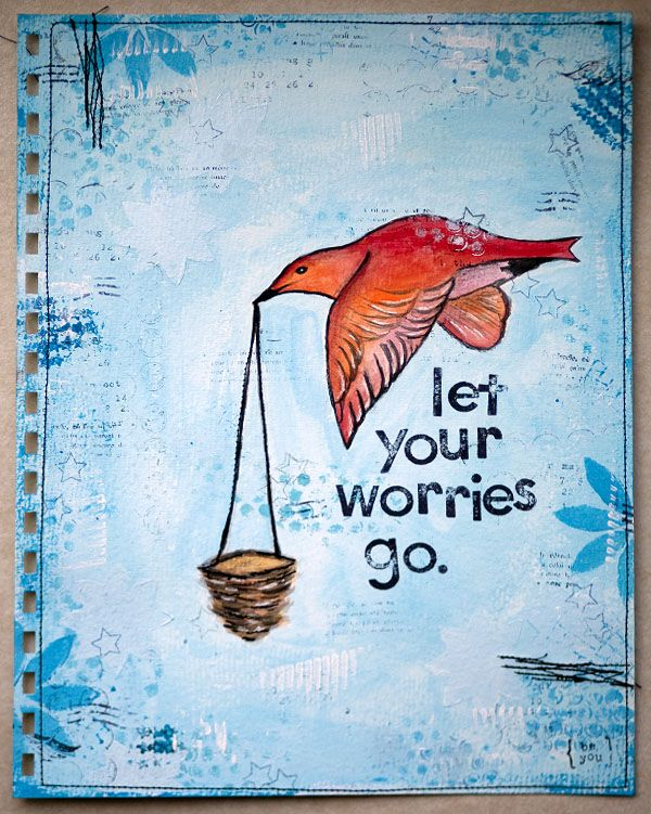 Let It Go Inspirational Quote Print Blue Watercolour Poster