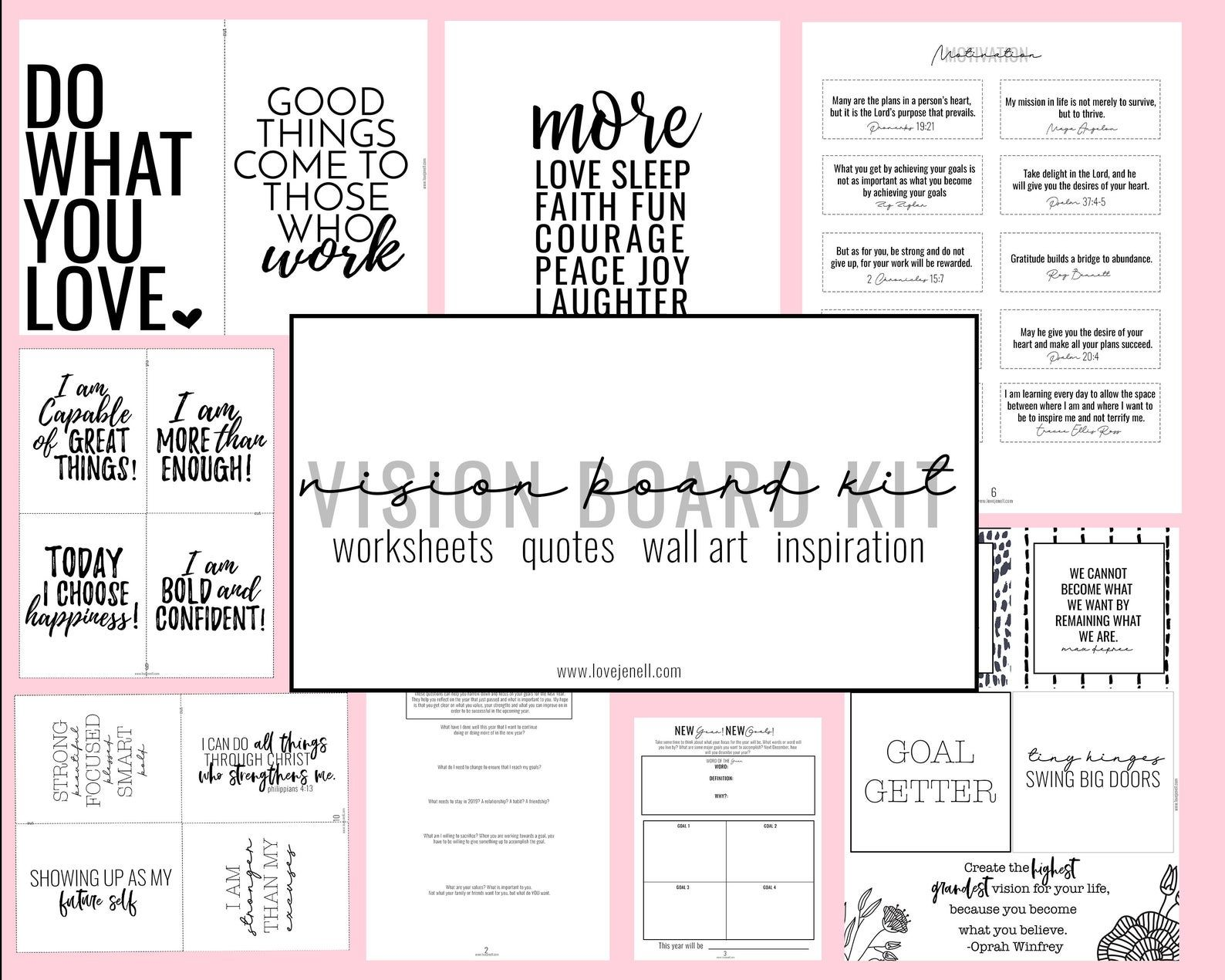 Vision Board Kit Printable Vision Board Goal Setting