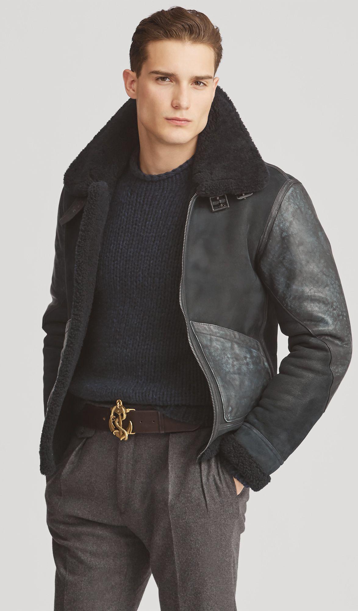 Ralph Lauren Purple Label Shearling Aviator Jacket Jackets Men Fashion Aviator Jackets Preppy Mens Fashion [ 2000 x 1174 Pixel ]