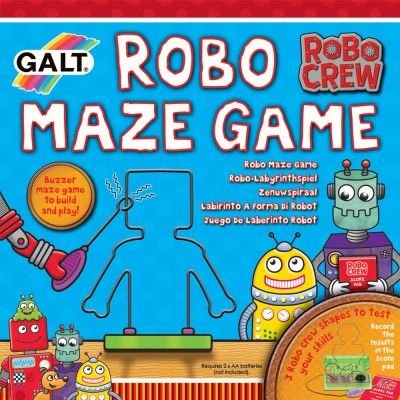 Robo Maze Game. Build and wire your own buzzer maze game with 3 Robo shapes. Try and move the wire loop around the Robo maze without setting the buzzer off. - See more at: http://www.galttoys.com/new-products.html#sthash.7v2AB0g7.dpuf