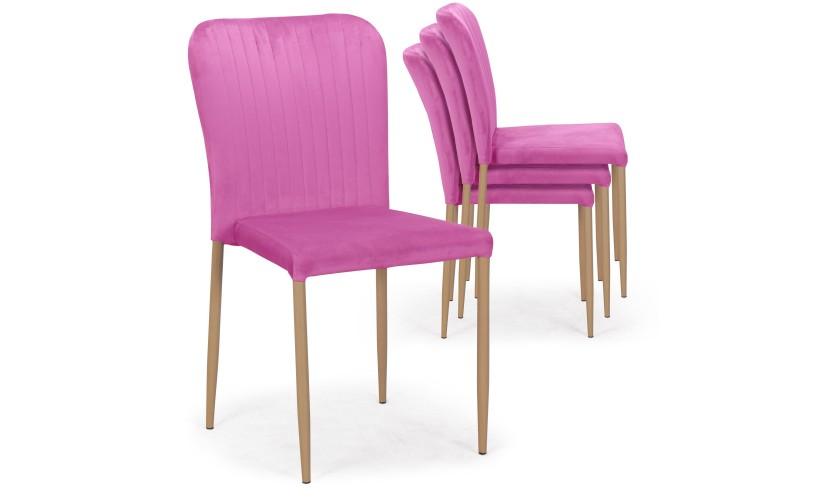 Lot De 4 Chaises Scandinaves Empilables Woopy Velours Rose En 2020 Chaise Scandinave Decoration Maison Chaise