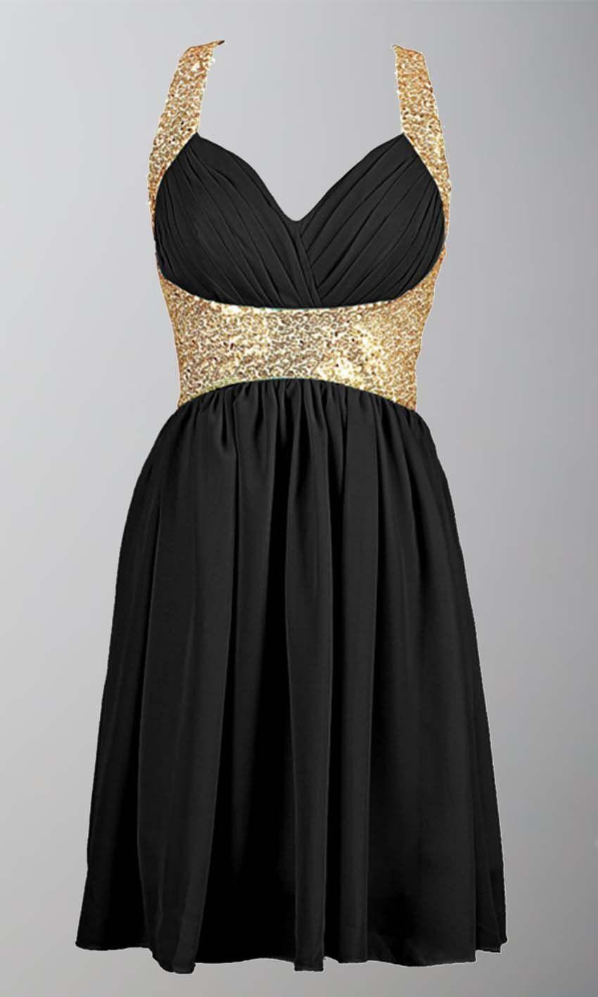 Black and Gold Sequin Short Prom Dresses UK KSP380 | uk prom dresses ...