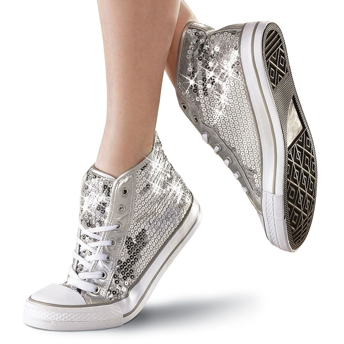 Silver Sequin High-Top Dance Sneaker; Balera | wishes ...