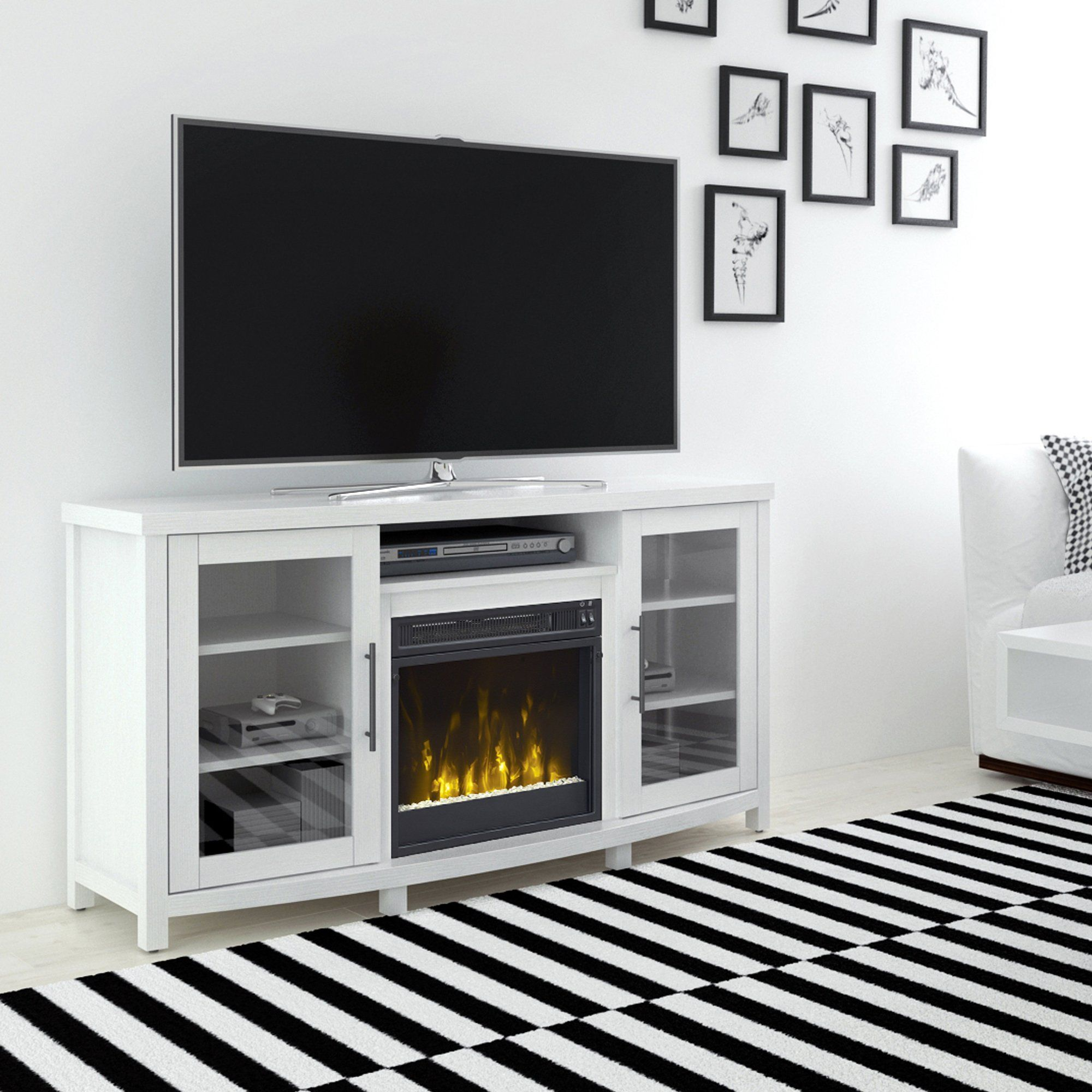 White Tv Stand With Fireplace 54 Inch Rossville Fireplace Tv Stand White Tv Stands Family Room Design