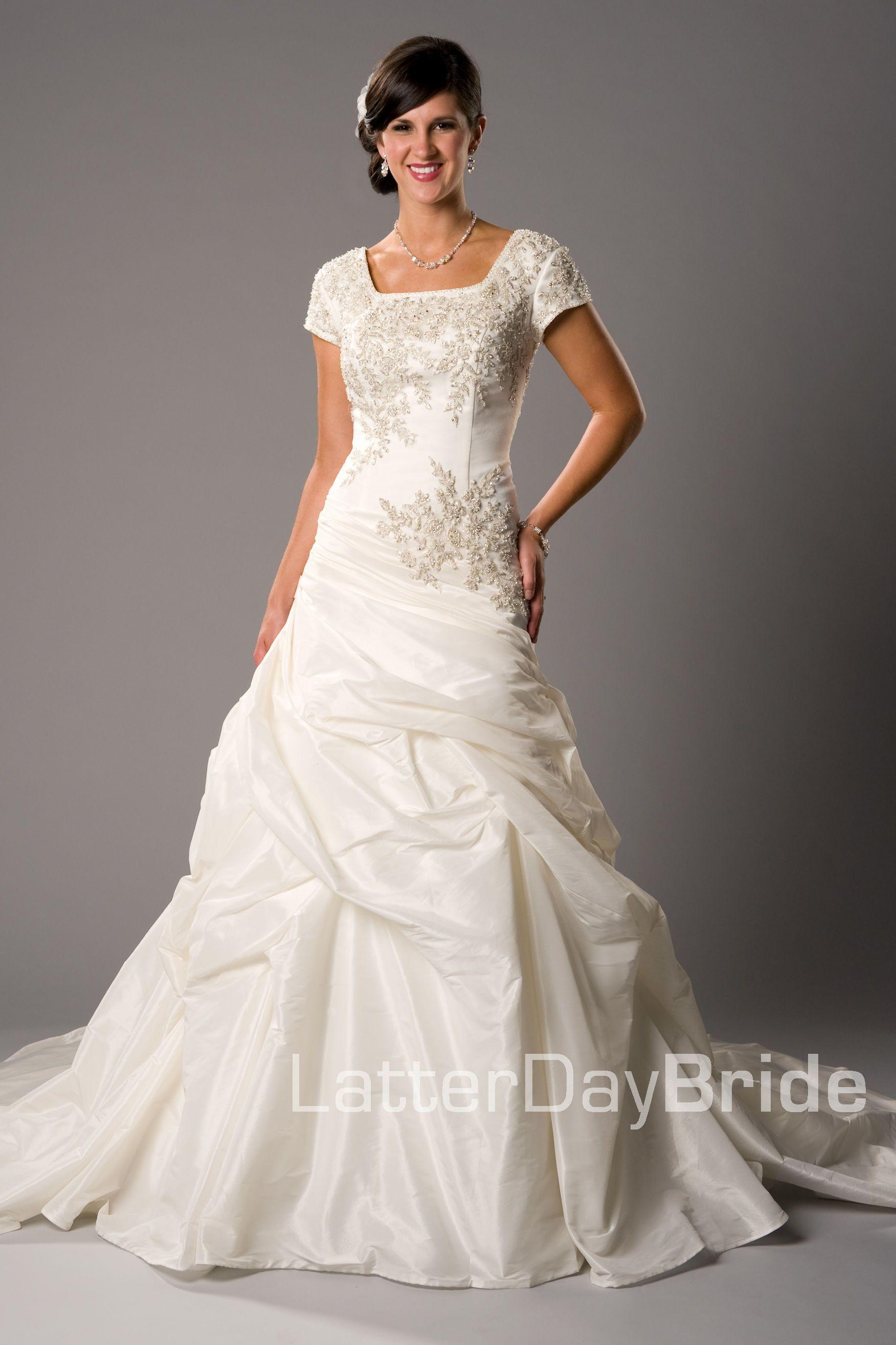 875a18cb51e Modest Wedding Dress, Mirabel | LatterDayBride & Prom. Modest Mormon LDS  Temple Dress