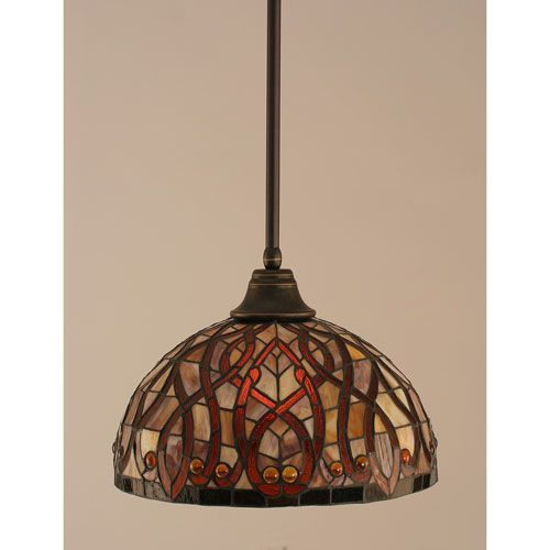 Dark Granite Stem Pendant with Persian Nites Tiffany Glass