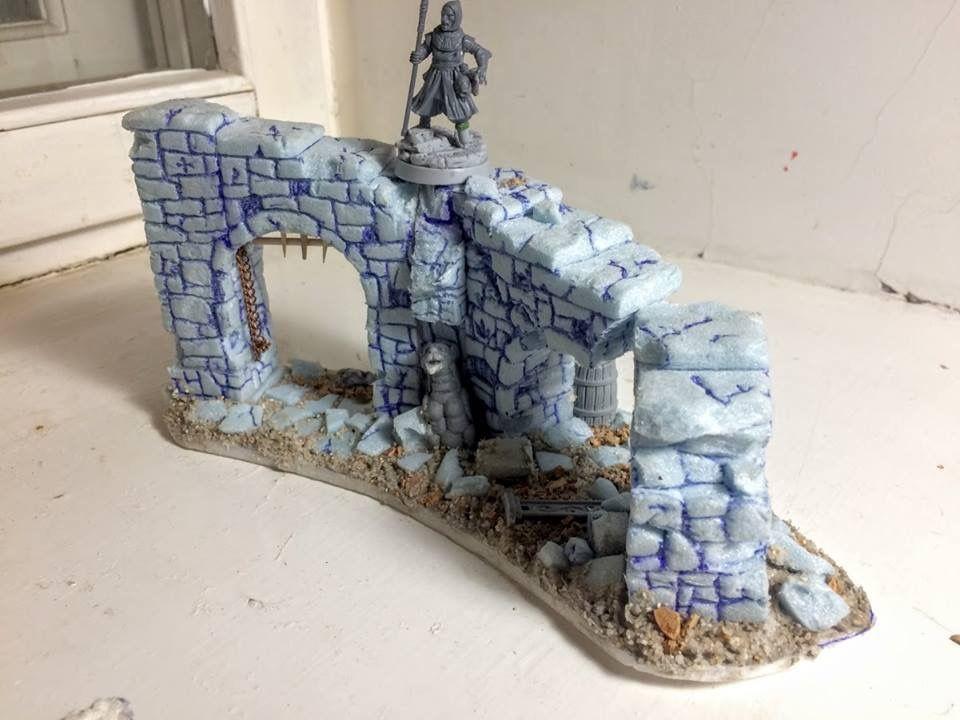 Diy wargame diorama ruin stone | war game | Wargaming