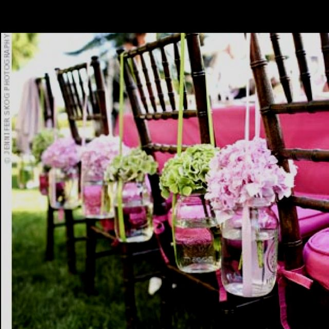 Hydrangeas in jars for the ceremony