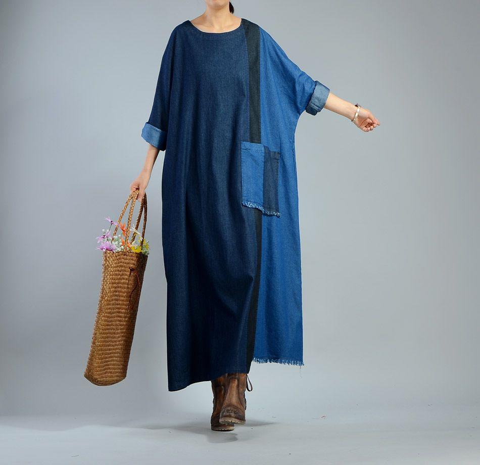 Blue contrast front pockets soft denim dress raw hem plus size maxi