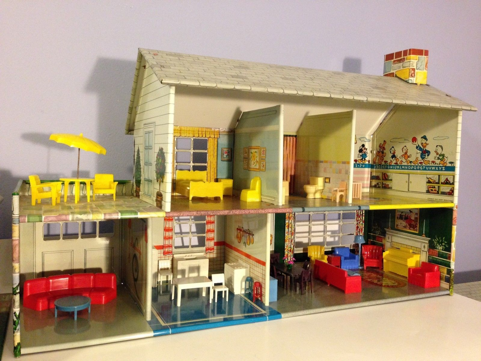 Vintage Marx Tin Litho 1950 Doll House Game Room Breezeway with ...