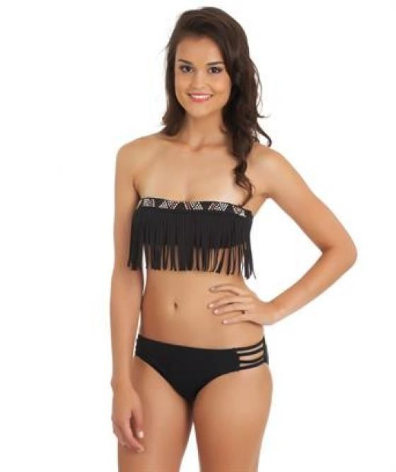 87362a2a39 Guess Tribal Beat Fringe Bandeau Bikini Top. Color black. The Tribal Beat  Bandeau top has removable lined cups