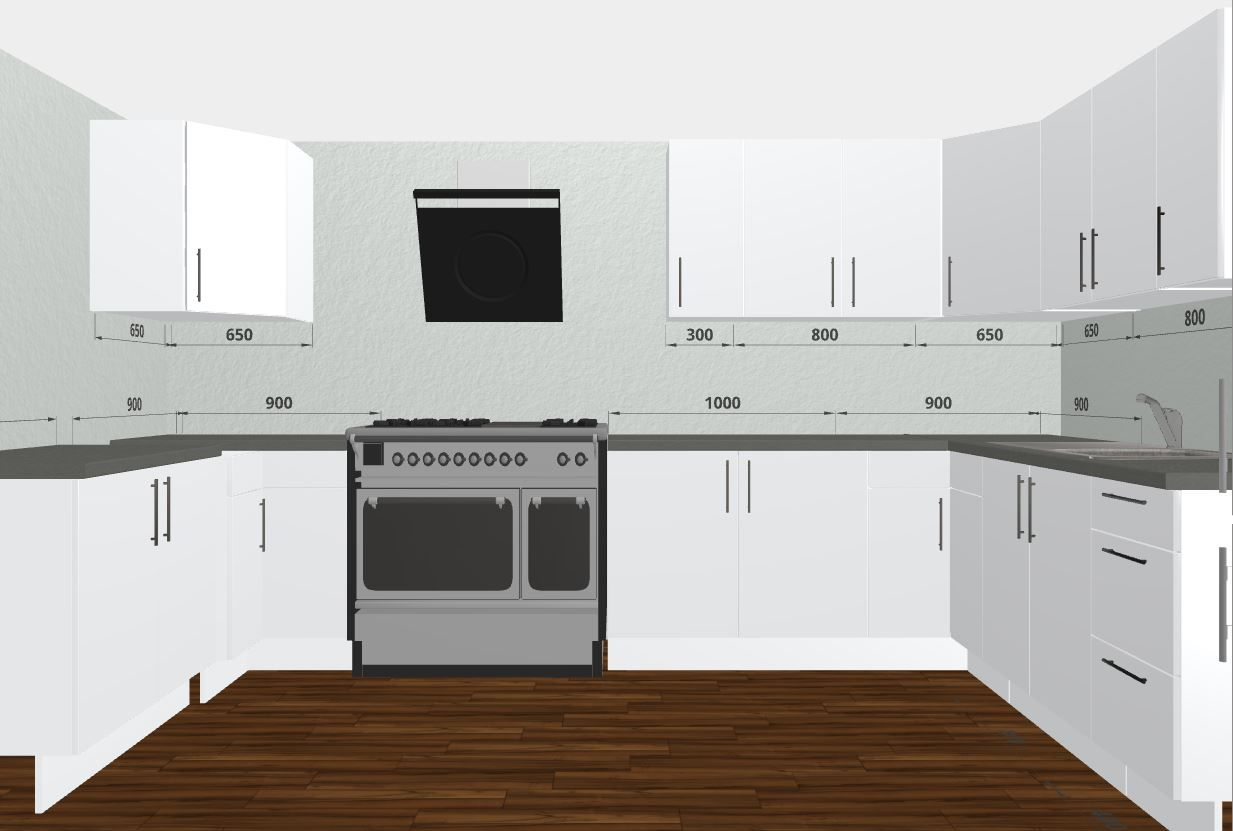 Large U-shaped Mahlzeit by Rational Kitchen. Free 3D Kitchen Planner ...