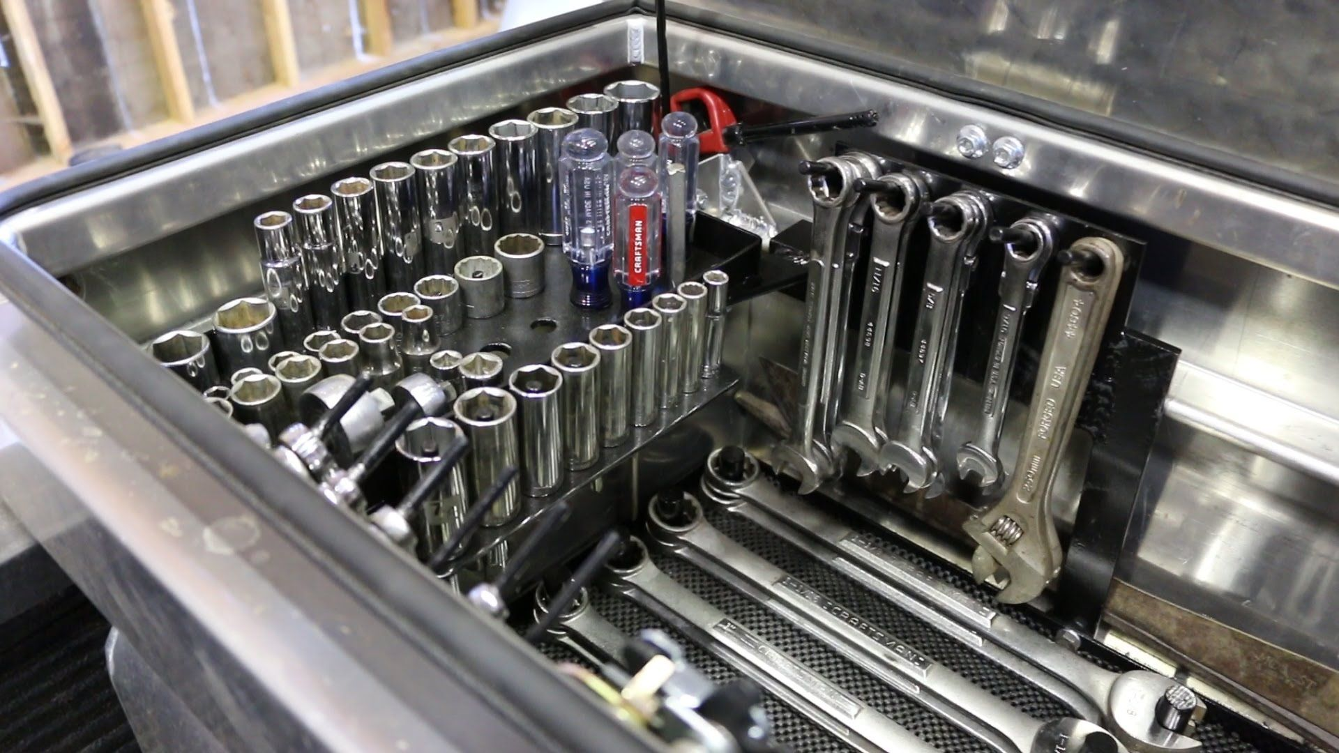 I Build A Toolbox Organizer For All My Wrenches And Other Tools I Need To Keep With Me On My Pickup For Farm Re Truck Tools Truck Bed Tool Boxes Truck