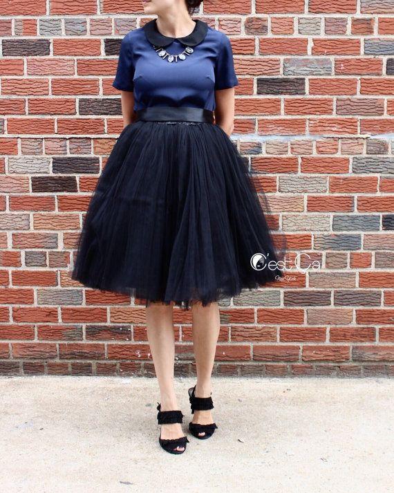 dff5f547ec Clarisa - Black Tulle Skirt, 7-layers Puffy Princess Tutu, Knee-Length Tutu,  Plus Size Tulle Skirt - Length 23.5