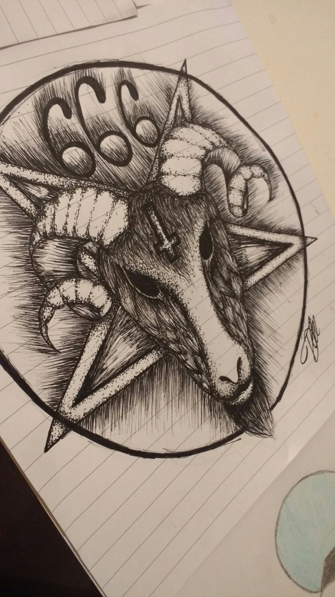 my drawing of a satanic pentagram with a rams