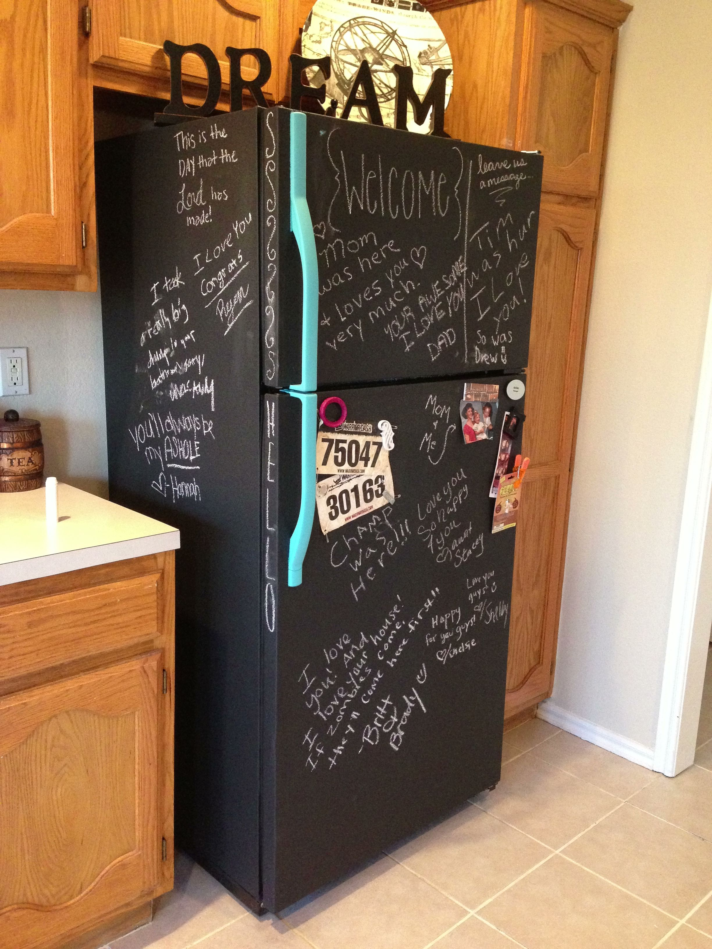 Chalkboard Fridge I Made Chalkboard Fridge Chalkboard Paint Fridge Painted Fridge